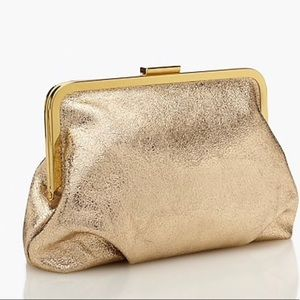 J Crew Gold Leather Frame Clutch